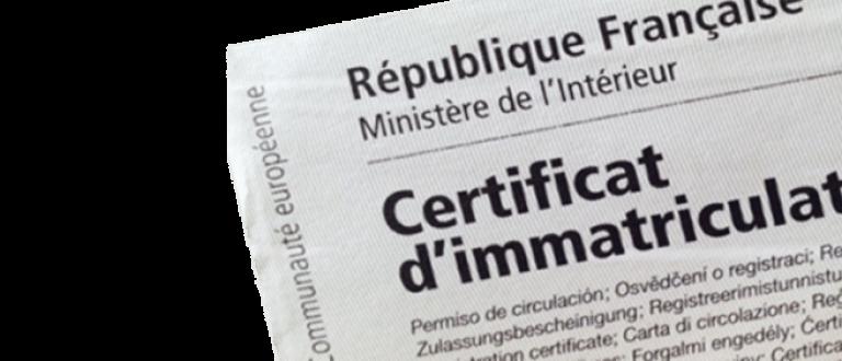 Certificat d'immatriculation, carte grise